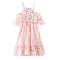 2017 Summer Girls Dress Cotton Linen Vacation Beach Princess Strapless Dress Kids Girl 8 10 12