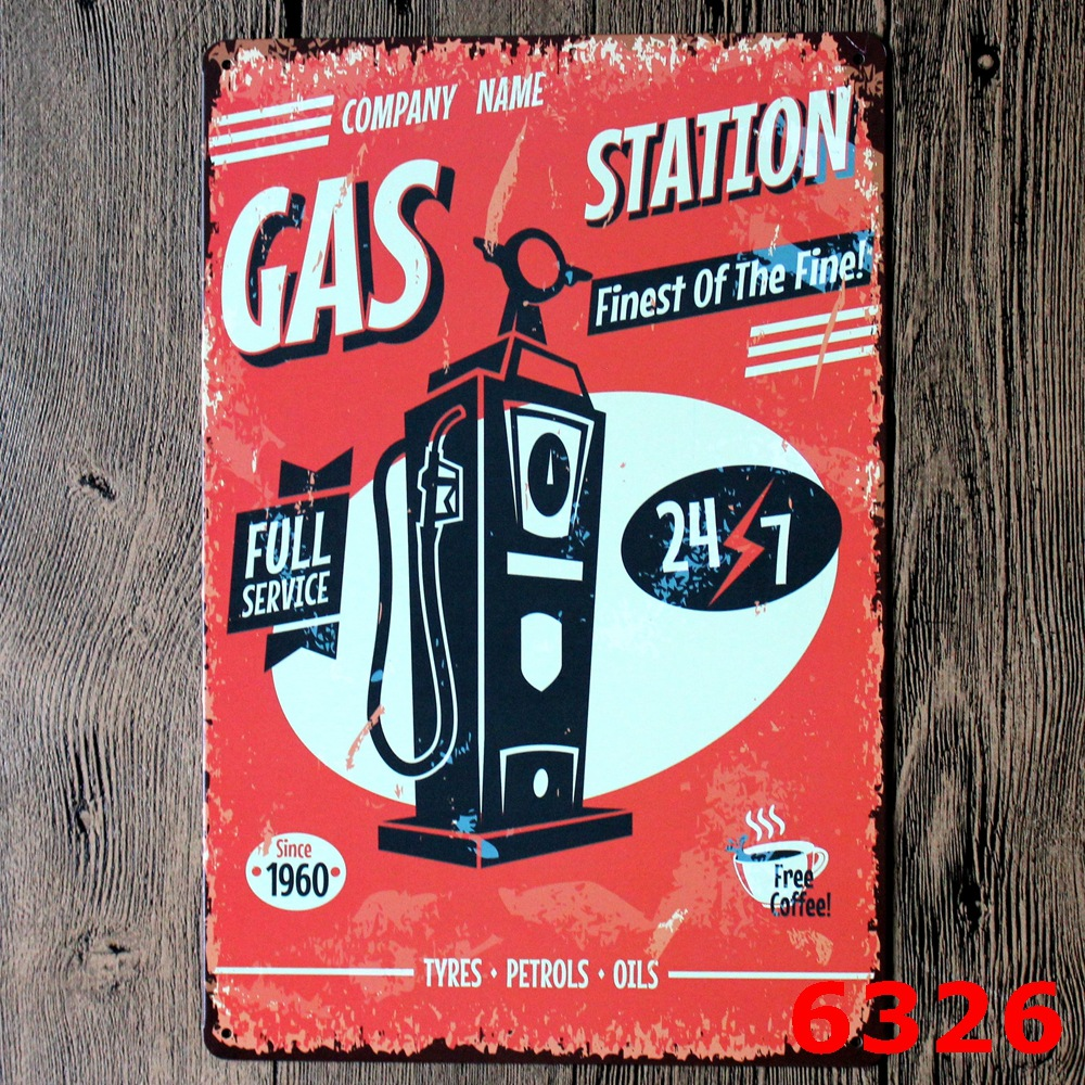 Full Server Gas Oil Station Vintage Home Decor Tin Sign For Wall Decor  Metal Sign Vintage