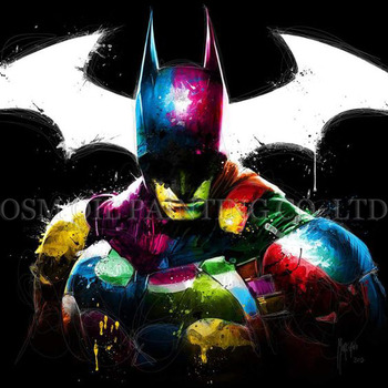 High Skills Artist Handmade Colorful Hero Batman Oil Painting on Canvas Handsome Batman Portrait Oil Painting for Living Room