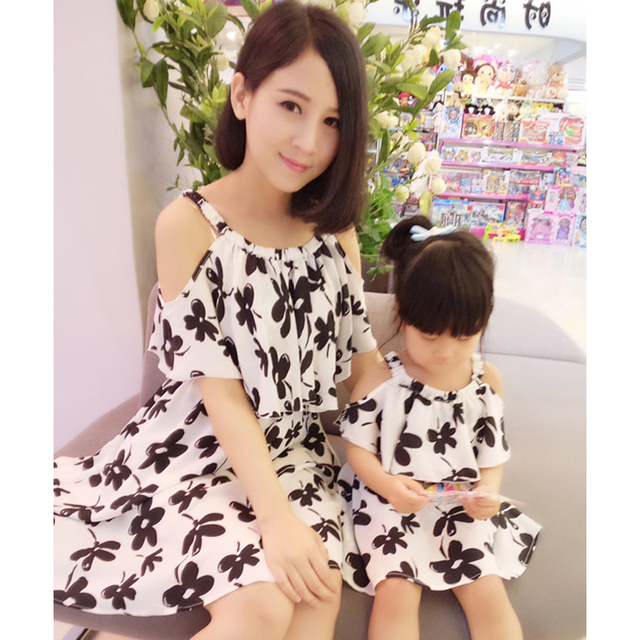 2018 Popular Mother Daughter Dress Summer Family Matching Dresses Cool Summer Girl Dress Family Clothing Outfits