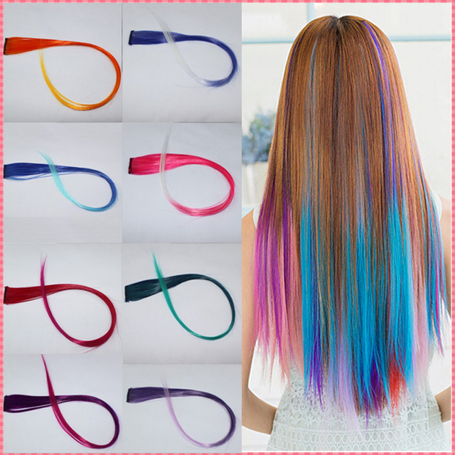 New Arrive fashion women's Long Synthetic Clip In Extensions Gradient Color cosplay  hair pieces #JO009