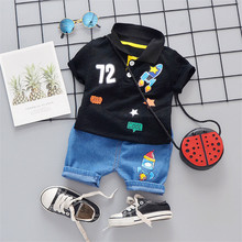 Boys Girls Clothing Sets 2019 Summer Lapel Digital Rocket Two-piece For T-Shirt+Denim Shorts Children Set Casual Fashion Clothes shein apricot appliques button top and shorts elegant girls clothing two piece set 2019 spring fashion vintage children clothes