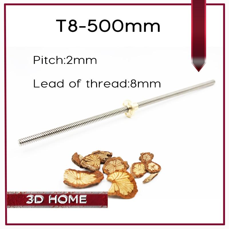 5pcs/lot RepRap 3D Printer THSL-500-8D Lead Screw Dia 8MM Thread 8mm Length 500mm with Copper Nut Free Shipping Dropshipping 5pcs lot m3 8mm hollow copper pillar hexagonal hollow copper pillars internal thread ve723 p