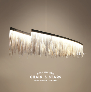 Image 3 - Postmodern designer Pendant Lights Nordic tassel restaurant luxury hotel engineering chain living room art hanging lights