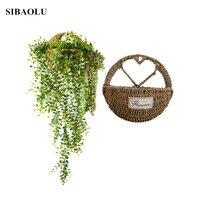 Wall Hanging Natural Wicker Flower Basket Flower Pot Planter Rattan Vase Basket Home Garden Wall Decoration