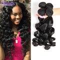Черный женщин прически малайзии девственные волосы свободная волна 7а свободная волна 4 пучки необработанные девственные волосы королева переплетения красоты ооо