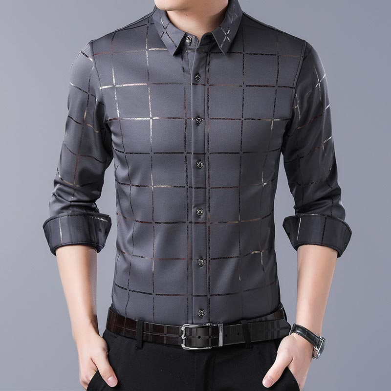 2020 Brand Casual Spring Luxury Plaid Long Sleeve Slim Fit Men Shirt Streetwear Social Dress Shirts Mens Fashions Jersey 2309 10