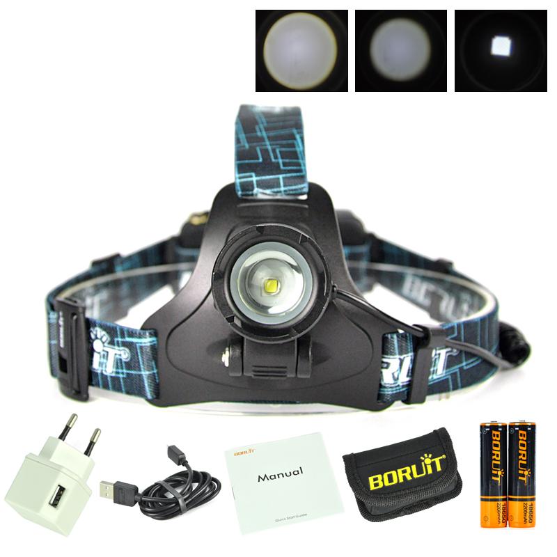Boruit led light Rechargeable headlight High power head lamp Flashlight Headlamp 1000 Lumens Headlamps power by 3x AAA batteries (1)