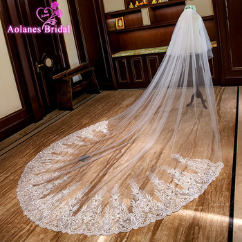 AOLANES 2018 Light Ivory 3M Wide 3.5M Long Wedding Veil Applique Edge Two-layer Bridal Veils With Comb Wedding Accessories