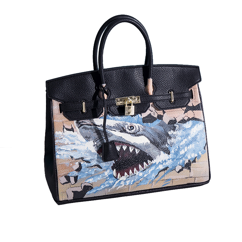 new arrived fashion 3D Graffiti women bags Large capacity shark printing women handbags pu leather tote bags bolsa feminina