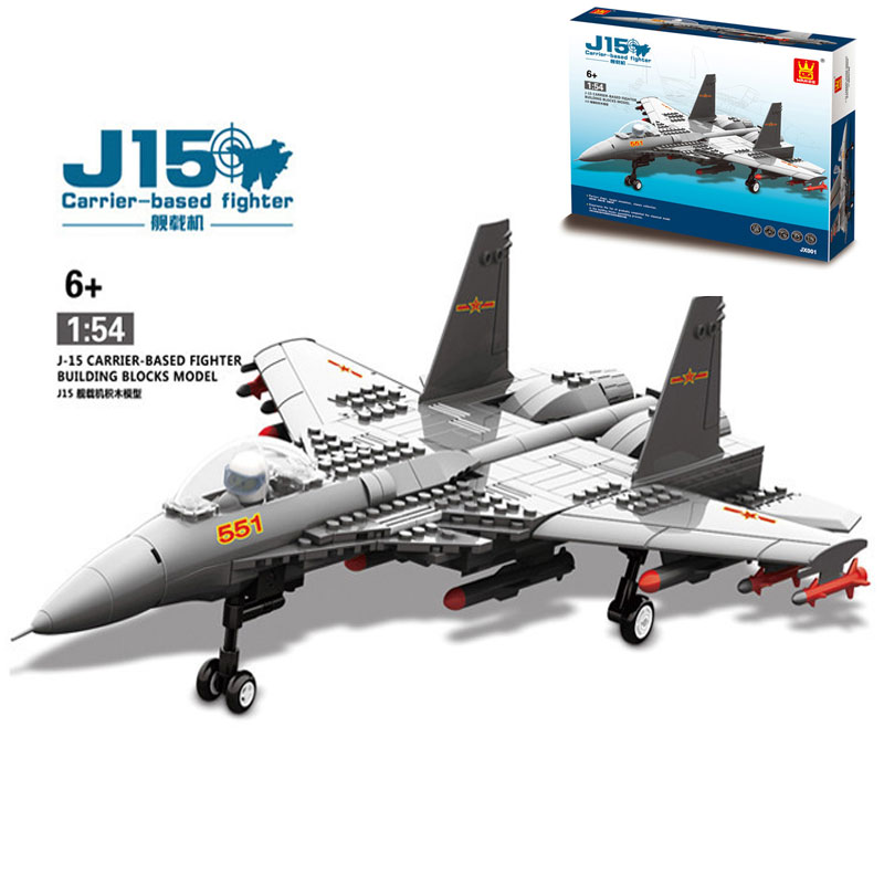 wange f 15 eagle fighter plane building blocks kit military army set models 281PCS Military Army  J15 Carrier-Based Fighter Aircraft Model Building Blocks Aircraft Pilot Figure Bricks Educational Toy