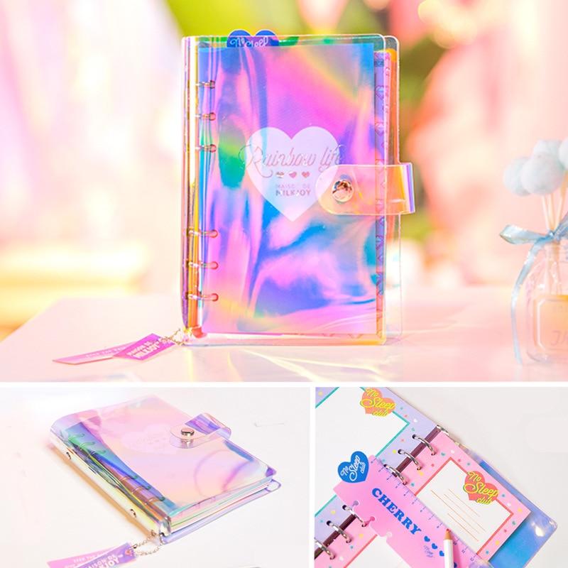 HOLO RAINBOW A6 Spiral Schedule Book Cool Design Transparent Laser Fashion Diary Book 80 Sheets 2018 Summer New laser fce teacher s book