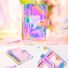 HOLO RAINBOW A6 Spiral Schedule Book Cool Design Transparent Laser Fashion Diary 80 Sheets 2018 Summer New