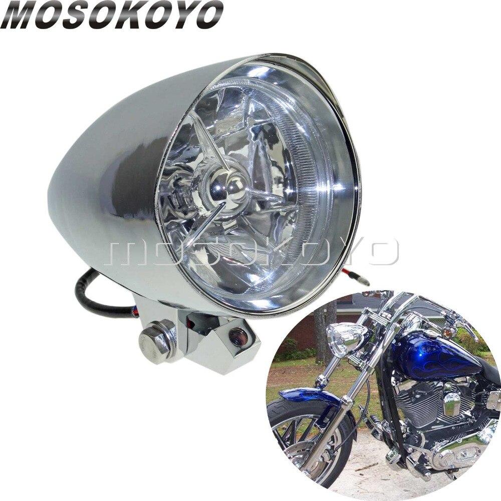 Chrome Motorcycle Custom Headlight H4 12V 60/55W High Low Beam Front Lamp For Harley Cafe Racer Chopper Sportster Bottom Mount