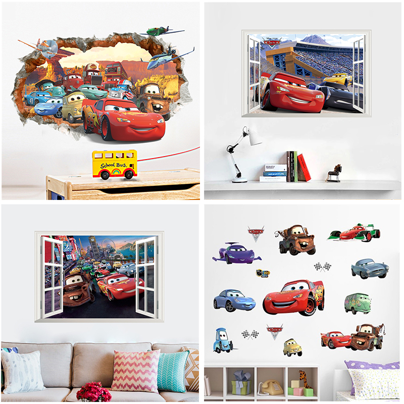 3d Effect Disney Cars Lightning Mcqueen Window Wall Stickers Bedroom Home Decor Cartoon Wall Decals Pvc Mural Art Diy Posters