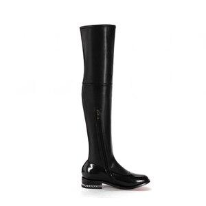 Image 4 - FEDONAS 2020 moda marka Stretch prawdziwej skóry buty kobiety ponad buty do kolan Sexy zamek jesień buty damskie zimowe buty