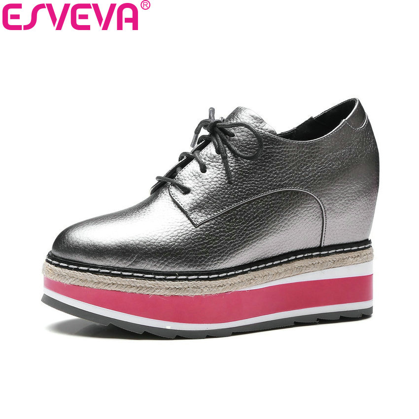 ESVEVA 2018 Women Pumps Round Toe Lace Up Cow Leather PU High Heels Shoes Height Increasing Platform Ladies Shoes Size 34-39 цена