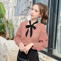 Sweet Polka Dot Bow Butterfly Sleeve Womens Tops And Blouses Summer Lining Patchwork Celebrity Party Blusas 4xl Shipping Top