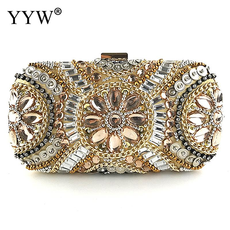 цена на Flower Rhinestones Women Handbags Gold Chain Shoulder Bags Metal Daybag Clutches Purse Wedding Wallets Diamonds Evening Bags