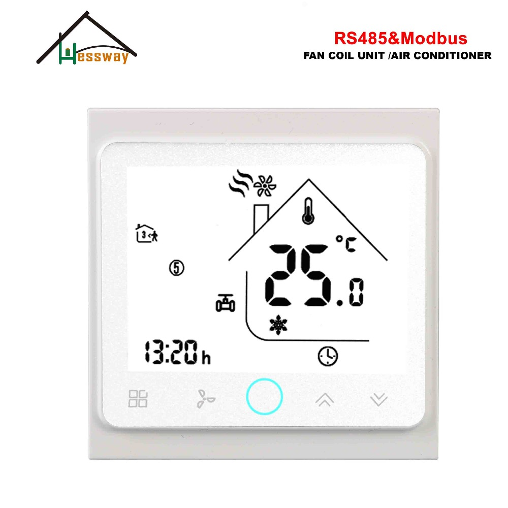 HESSWAY 3 Speed RS485 RTU MODBUS Smart Room Thermostat 24vl AC95-240V For 2 Pipe Fan Coil Unit