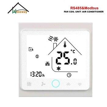 HESSWAY 3 velocidades RS485 MODBUS RTU termostato de pared inteligente 24vl AC95-240V para 2 unidades de bobina de ventilador de tubo
