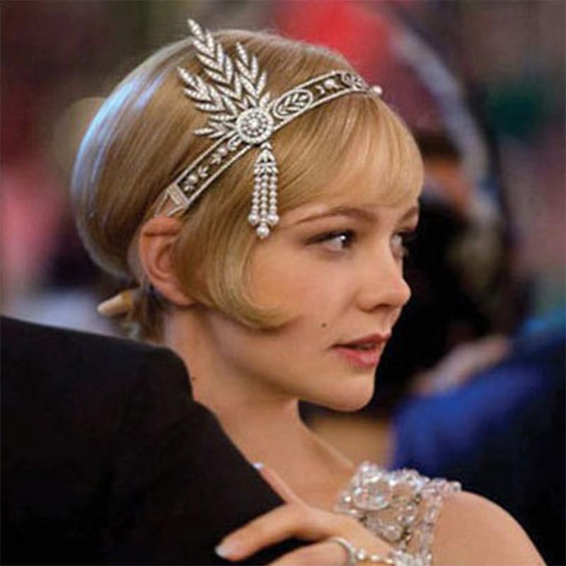 Art Deco Women 1920s Vintage Bridal Headpiece Costume Hair Accessories Flapper Great Gatsby Leaf Medallion Pearl Headband