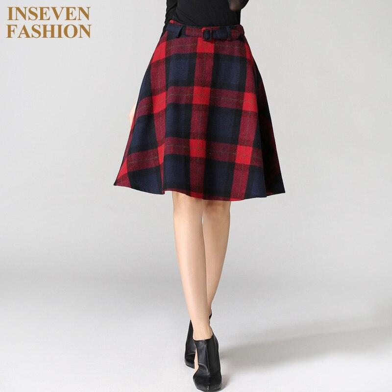 winter autumn vintage fashion woolen midi skirts