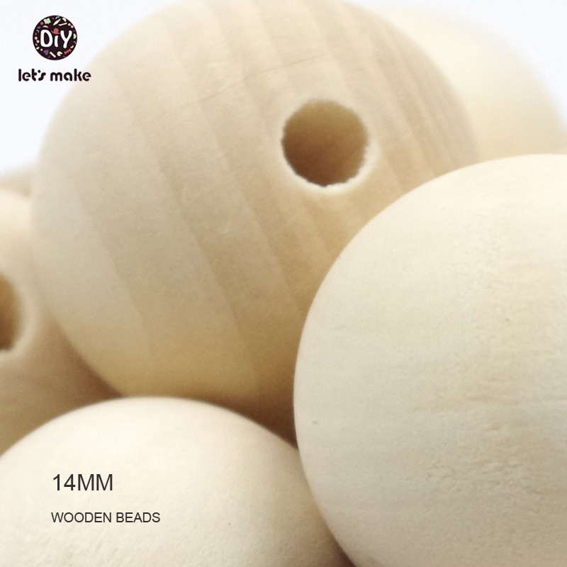 Let's make natural wood beads eco-friendly safe wooden baby teething teether beads organic 100pcs 14mm jewelry beads for baby