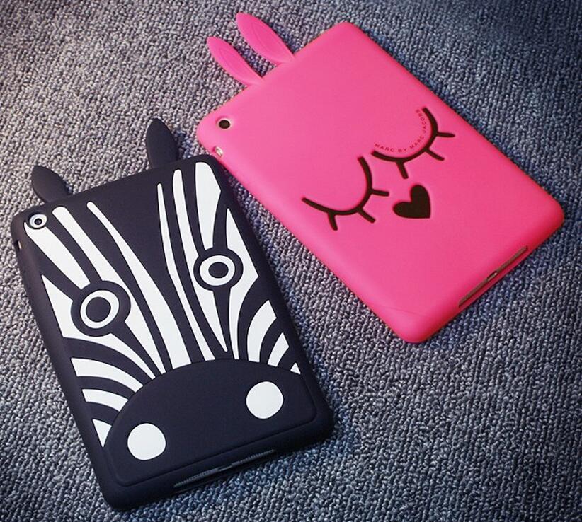 3D Cartoon Rabbit Bunny Zebra Cute Duck Dog Silicon Skin Shell For APPLE Ipad Mini 1 2 3 Cover Case Tablet Case + Film