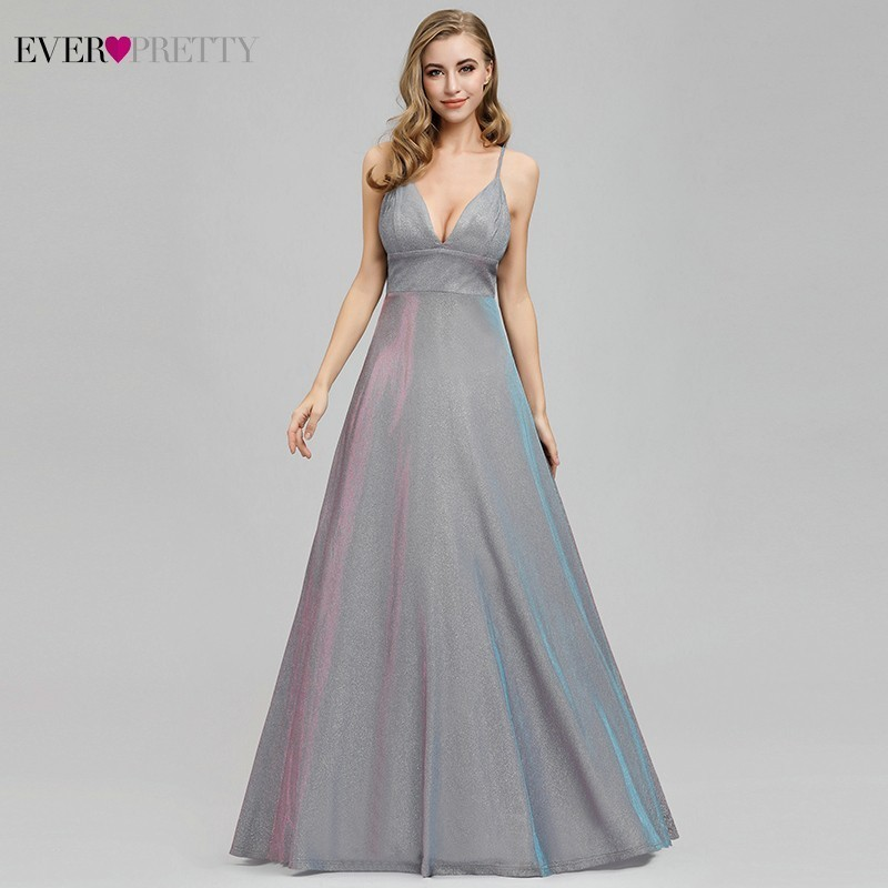Ever Pretty Sexy Sparkle   Evening     Dresses   A-Line V-Neck Spaghetti Straps Elegant Formal Party   Dresses   EP07937GY Robe De Soiree