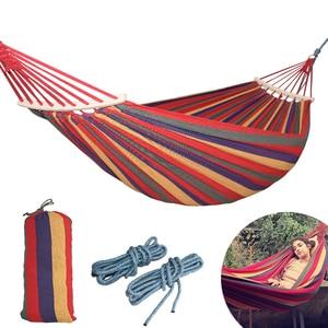 Image 1 - 250*150cm 2 אנשים חיצוני בד קמפינג ערסל עיקול עץ מקל יציב Hamak גן תלוי Hangmat כחול אדום