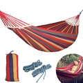250*150cm 2 Menschen Im Freien Leinwand Camping Hängematte Biegen Holz Stick stetige Hamak Garten Schaukel Hängt Stuhl Hangmat blau Rot