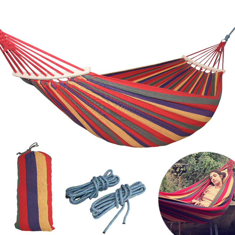 250 * 150cm 2 People Outdoor Canvas Camping Hammock Bend Wood Stick stabilní Hamak Garden Houpačka Visící židle Hangmat Blue Red
