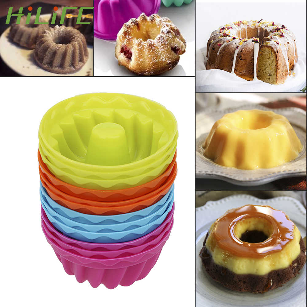 Hilife Baking Jelly Cetakan Silikon Puding Muffin Cetakan Donat 12 Pcs/set Benang Membentuk Non-Stick