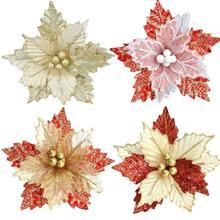 Рождественские цветы, украшения для рождественской елки, искусственный цветок, Блестящий Свадебный декор, искусственные цветы, Прямая поставка