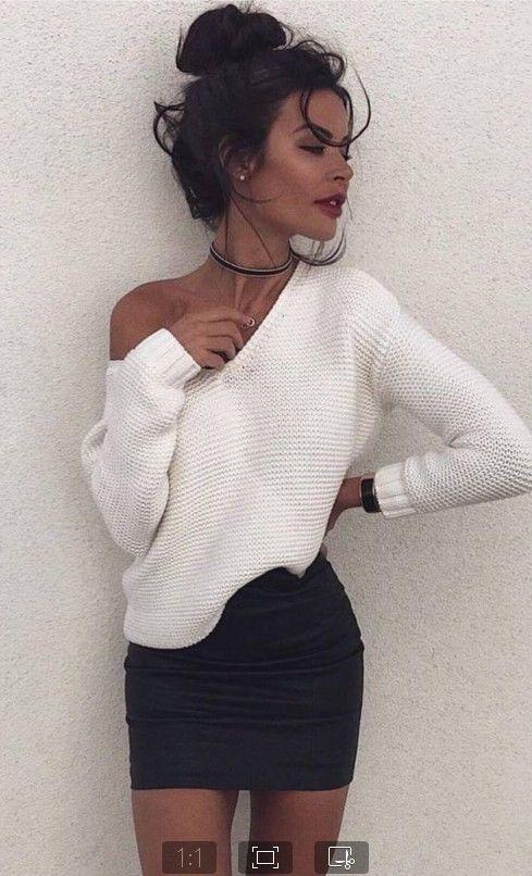 Suéteres Blanco Mujer Hombro Suéter Tops De Otoño Puente Ocasional Larga Manga Abrigo nqn4P0