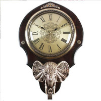Retro vintage elephant wooden clocks and watches in the living room Clock Decoration Wall Watch Mute wall clock