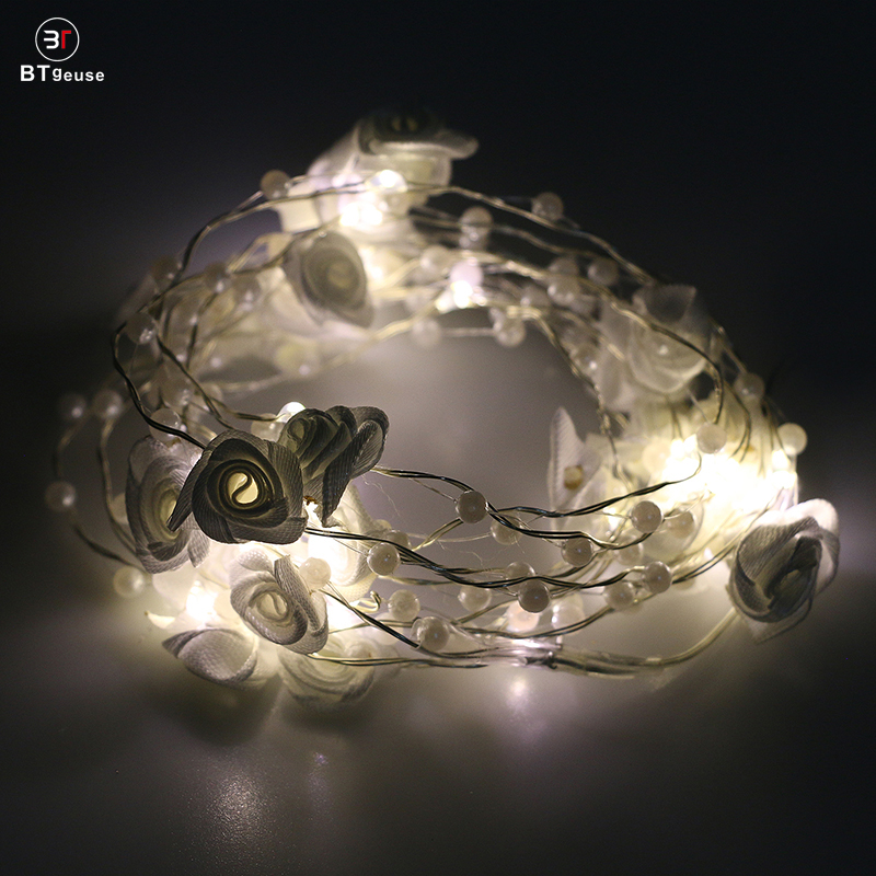 BTgeuse Led Garland For Bedroom Holiday Party Wedding Decoration 30 LED 88 Inch Warm White Silk Rose String Light With Remote