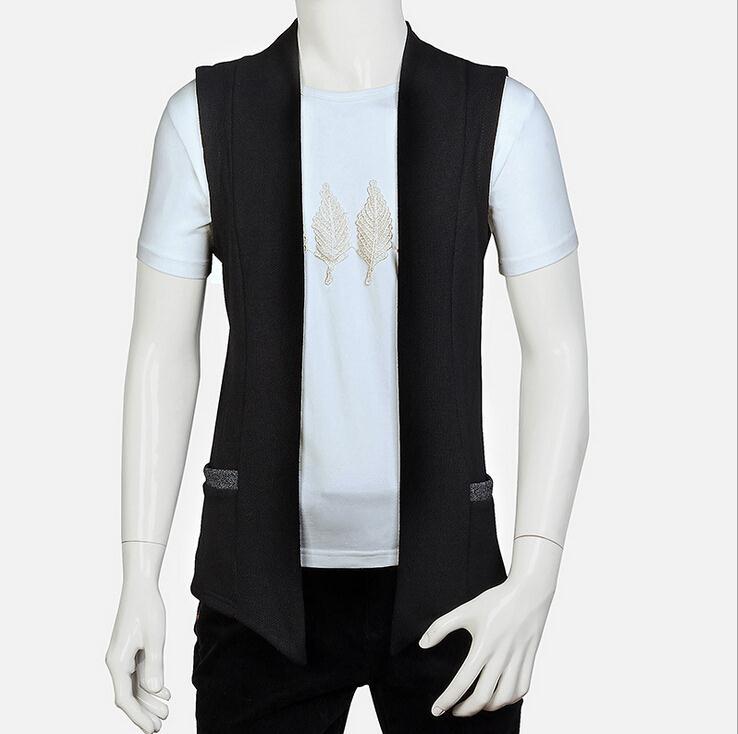 Лето Стиль Для мужчин Безрукавки для женщин Вязание маленькое пальто Slim Fit с капюшоном Толстовка Повседневное куртка без рукавов жилет - Цвет: Черный