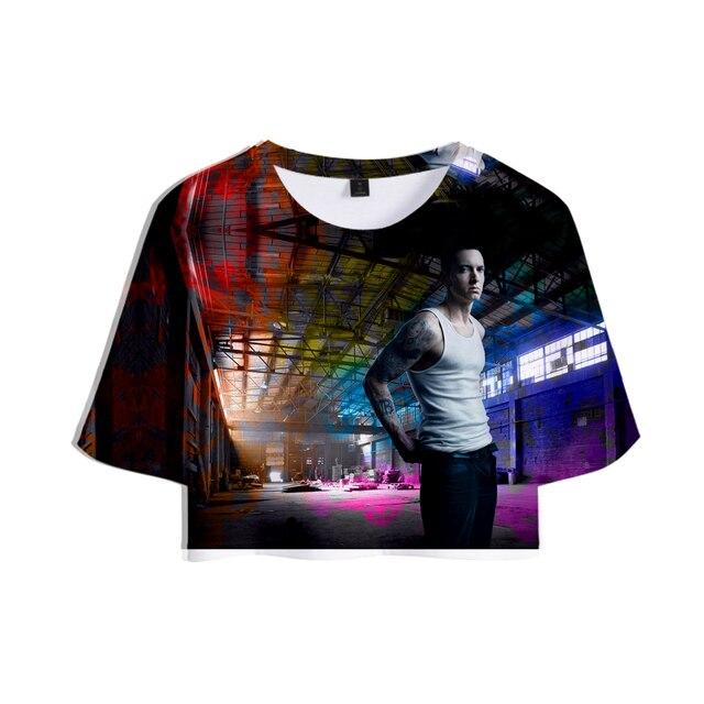 2018 EMINEM famoso rapero 3D impreso verano Crop Tops mujeres Hip Hop manga  corta moda camisetas 59d1bbe5120