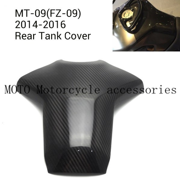 High Quality Motorcycle Carbon Fiber Rear fuel Tank Cover for Yamaha MT-09 FZ-09 2014 2015 2016 Motorbike Tank Protect Cover black color motorcycle accessories carbon fiber fuel gas tank protector pad shield rear carbon fiber for kawasaki z1000 03 06