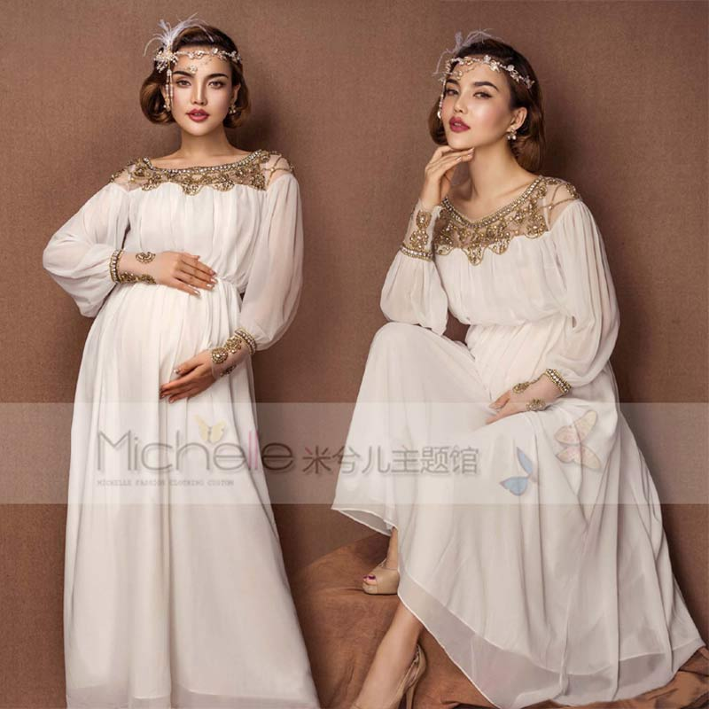 White Lace Maternity Photography Props Long Dress Pregnant Women Elegant Fancy Photo Shoot Studio Clothing Maternity dresses бра l arte luce florian l12721 47