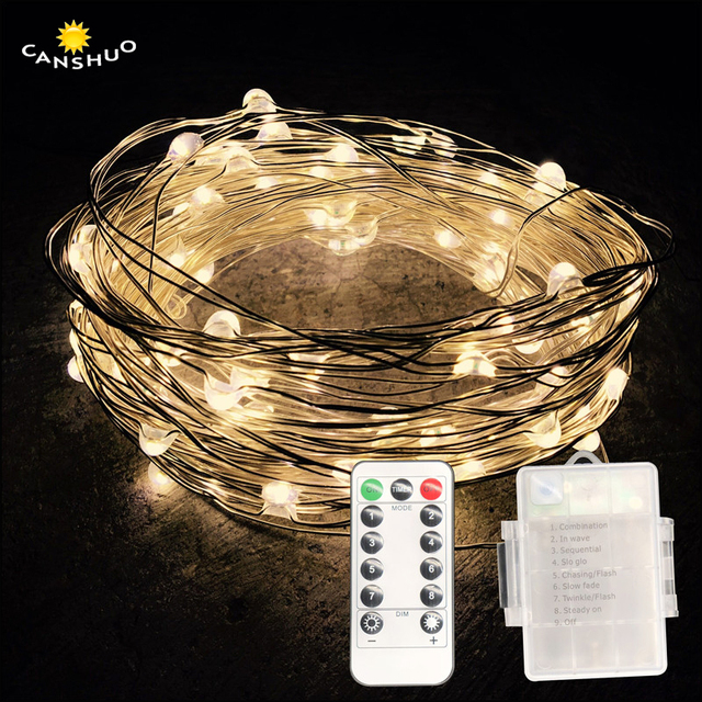 5 10m Waterproof Remote Control Fairy Lights Aa Battery Led Decoration 8 Mode Timer