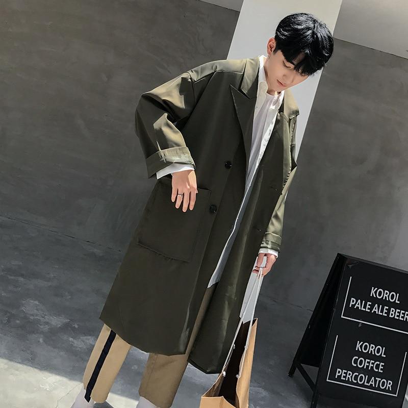 Wilden Lange Beiläufige Lose Green Männer Jugendliche Black Koreanischen khaki army Mode Stil Windjacke Outwear txsQChrd