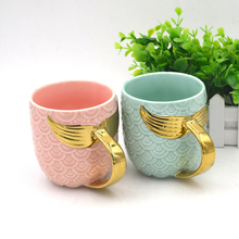 Mermaid Tail Large Mug Creative Ceramic Coffee Milk Tea Cup With Handle Glazed Gold Birthday Wedding Gifts Cups And Mugs