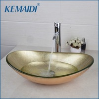 KEMAIDI New Hand Painted Gold Bathroom Washbasin Bath Set Faucet Mixer Taps Tempered Glass Basin Veseel Faucets Chrome Finished