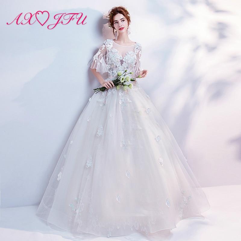AXJFU printsess valge õie pits pulmakleit luksuslik o kaelus beading lill dubai valge pulmakleit 9176