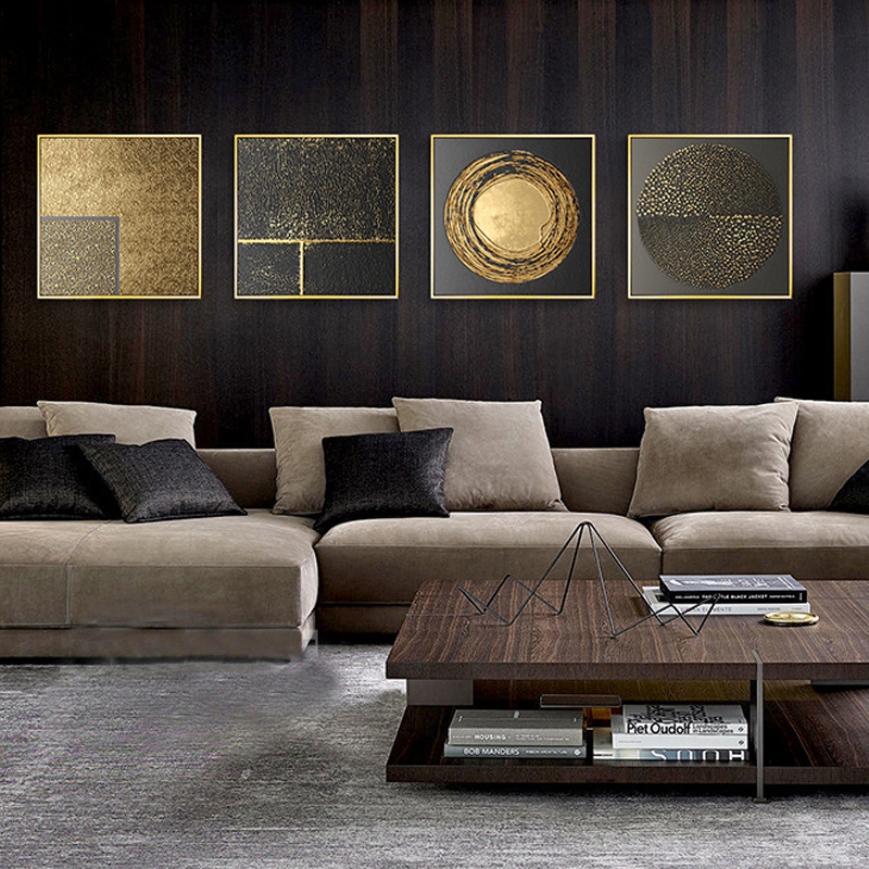 HTB1438QclWD3KVjSZKPq6yp7FXa7 Abstract Gold Black White Modern Square Texture Canvas Painting Posters And Prints Home Decor Wall Art Pictures For Living Room