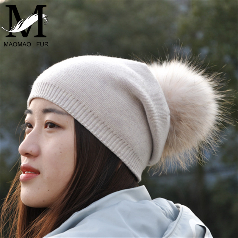 bfa74ff57d5 Women Real Raccoon Fur Pompom Hat Female Winter Spring Wool Beanie Cap  Natural Fur Pom Pom Hat Cashmere Knit Bobble Beanie Hat-in Skullies    Beanies from ...