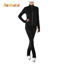 Angepasst Kleidung Eislaufen Eiskunstlauf Anzug Jacke Und Hosen Roll Skater Warme Fleece Erwachsene Kind Mädchen Solid Black